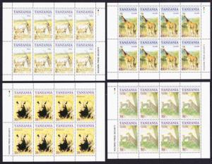 Tanzania Oryx Giraffe Rhinoceros Cheetah 4v Sheetlets of 8 sets SG#479-482