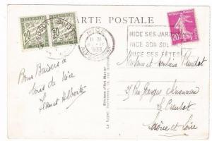 France 1933 Nice Le Creusot Chiffre Taxe à percevoir POSTAGE DUE Postcard Saône
