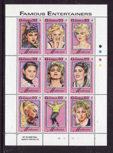 Gambia-Sc#1396-Music-Unused NH sheet-Madonna-Famous Entertainers-1993-