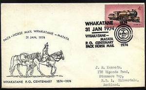 NEW ZEALAND 1974 Whakatane  Pack Horse Mail cover & cancel.................18848