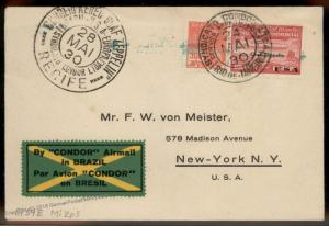 Brazil 1930 Graf Zeppelin Si59E Pan America Flight Cover 90746