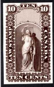 OL2, 10c, Sepia, Plate Proof, Canada, intended for either Upper or Lower, VF