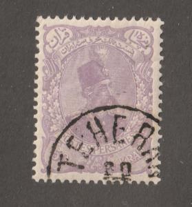 Persia Stamp, Scott# 119, mint hinged, postmark, cto, 50 Krans Mauve, #L-69
