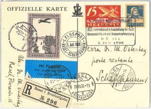 60201 - SWITZERLAND - POSTAL HISTORY - SPECIAL FLIGHT CARD & POSTMARK  1926