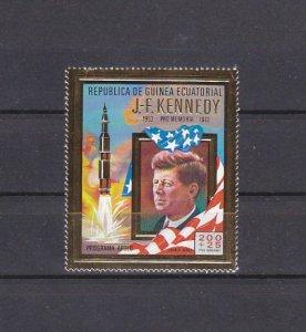 Eq. Guinea. Mi cat. 306 A. President John Kennedy, Gold Foil issue. ^