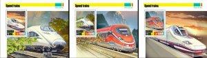 Sierra Leone Speed Trains Stamps 2020 MNH Talgo Frecciarossa Railways 3x 1v S/S