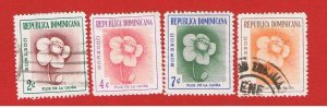Dominican Republic #489-492 VF used  Flowers  Free S/H