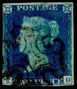 SG6, 2d pale blue, USED. Cat £1000. BLACK MX. KD