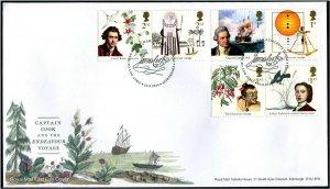 HERRICKSTAMP GREAT BRITAIN Sc.# 3757-62 Captain Cook FDC - Edinburgh Cancel