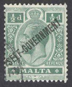 Malta Sc# 87 Used 1922 1/2p green Overprint
