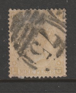 Great Britain a used QV 9d straw from 1867