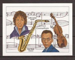 1989 Grenada Grenadines - Sc 1119 - MNH VF - Souvenir Sheet - Musicians