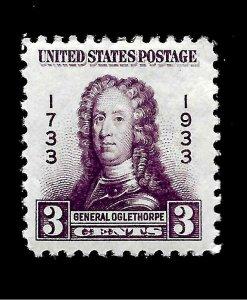 US 1933  3 Cent Sc# 326  3 c General Oglethorpe Mint H - Vivid Color - Centered