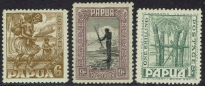 PAPUA 1932 PICTORIAL 6D 9D AND 1/- MNH **