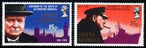 South Georgia 39-40,MNH.Sir Winston Churchill.Parliament,Big Ben,Battleship,1974