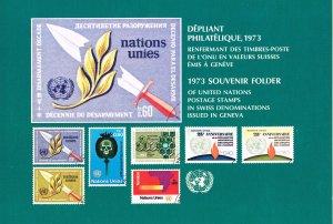 UN Geneva 1973 Souvenir Folder with MNH Stamps