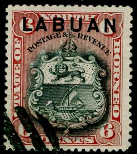 LABUAN SG67b, 6c brown-lake, FINE USED.