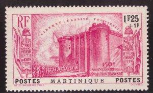 Martinique Scott  B6 MH* 1938 Revolution semi postal stamp