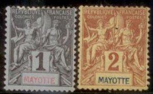 Mayotte 1892 SC# 1-2 MNH L156