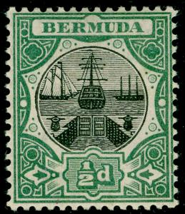 BERMUDA SG31, Dry Dock ½d black & green, LH MINT. Cat £14.