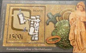 A) 2012, ISLAND, ARCHEOLOGY, CONSECRATION OF THE CHURCH, SOUVENIR SHEET, MULTICO