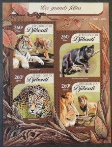 Djibouti 2016 big cats animals tigers lions panther leopard m/sheet mnh