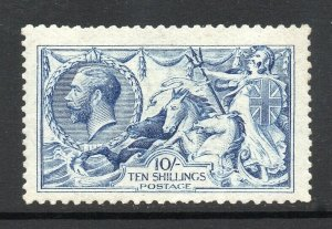 GB KGV SG412 10/- Blue De la Rue Seahorse Fine Mint Hinged Cat £3,250 (2)