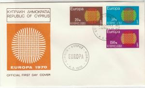 Cyprus 1970 Europa Picture Double Europa Cancels FDC Stamps Cover Ref 27648