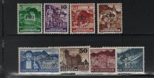 LIECHTENSTEIN O21-O29 (9) Set, Hinge Remnant, 1937-41 regular Issue Overprinted