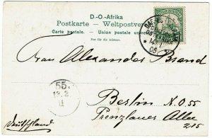 German East Africa 1905 Dar-es-Salaam cancel on postcard, shows native soldiers