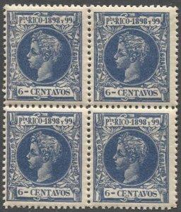 PUERTO RICO 1898 Sc 145  6c dk blue Alphonso XIII MNH Block of Four, VF