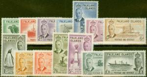 Falkland Is 1952 set of 14 SG172-185 V.F Very Lightly Mtd Mint