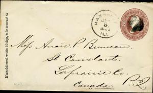 Us Kankakee, Il 6/8/1895 2cent Gestempelt Umschlag zu Laprairie, Kanada
