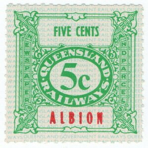 (I.B) Australia - Queensland Railways : Parcel Stamp 5c (Albion)