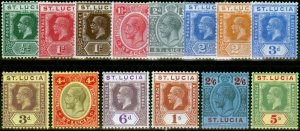 St Lucia 1921-26 Set of 14 SG91-105 Fine Mtd Mint Ex SG96