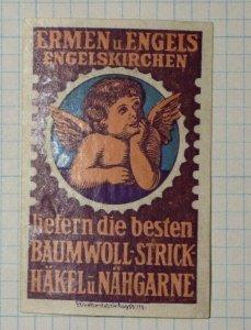 Ermen & Angels Cotton Knitting Hook & Thread German Brand Poster Stamp Ads