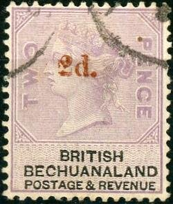 Bechuanaland Protectorate #25 2p on 2p No. 12 Surcharged in red Used/H