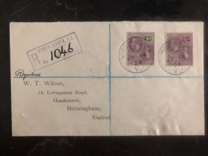 1924 Virgin Gorda British Virgin Island Registered Cover to Birmingham England