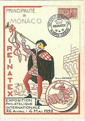 14709 - MONACO  - POSTAL HISTORY -  MAXIMUM CARD -  HERALDRY Music HORSES  1952