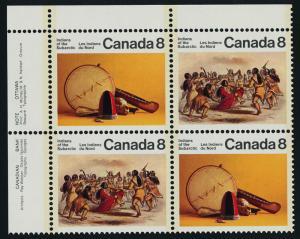 Canada 575aii TL Plate Block MNH Subarctic Indians, Art, Dance, Costumes
