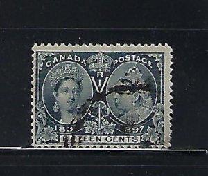 CANADA SCOTT #58 1897 VICTORIA JUBILEE 15 CENTS ( STEEL BLUE)- USED