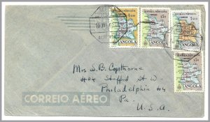 ANGOLA (Portugal) MAP stamps (4) on SILVA PORTO to USA Airmail Cover in 1962