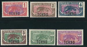 Ubangi Chari Chad  1-6 Y&T 1-6 MVLH F/VF 1922 SCV $9.15