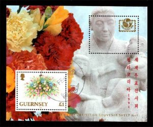 Guernsey 1995 PHILAKOREA '94 Stamp Exhibition, Flowers S/S £1 Scott.495a Used