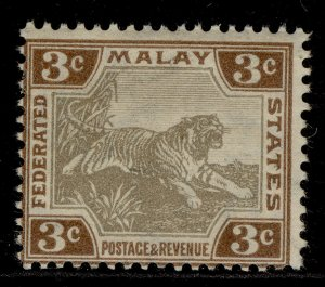 MALAYSIA - Federated Malay EDVII SG32a, 3c grey-brown & brown, M MINT. Cat £55.