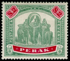 MALAYSIA - Perak SG77, $2 green & carmine, NH MINT. Cat £450+