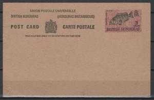 British Honduras pse postal stationery postal card, 3 cents, unused