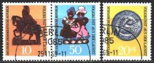 GDR. 1969. 1521-23. Folk art, horse. USED.