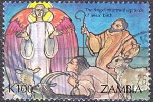 Zambia # 589 used ~ 100k Christmas - Angel, Shepherds, Sheep