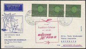 GERMANY 1961 Lufthansa first flight cover to Beirut Lebanon.................H290